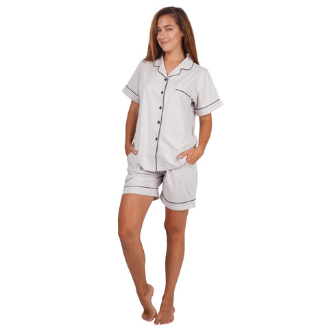 Women's Cotton Pajama Set Short Sleeve Sleepwear Comfort Gray PJ Set