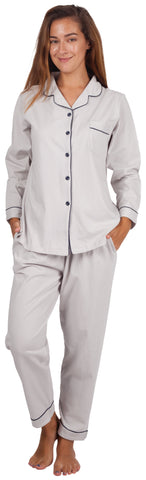 Women's 100% Cotton Pajama Set Long Sleeve Grey PJ Set