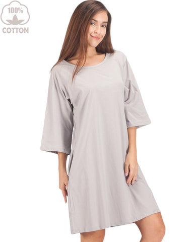 Womens 100% Cotton Sleep Shirt 3/4 Long Sleeve Nightshirt Cozy Sleep Dress Shirt