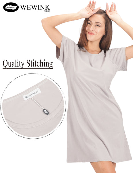 Women's 100% Cotton Nightshirt Short Sleeves Pockets Sleepshirt Loose Sleep Dress