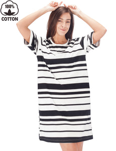WEWINK CUKOO Womens Loose Short Sleeve Sleep Shirt Organic 100% Cotton Nightshirt Cozy Pocket Sleepwear