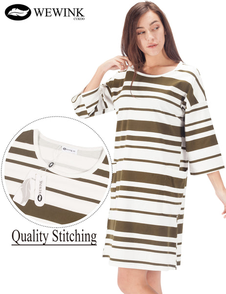 Womens 3/4 Long Sleeve Nightshirt 100% Cotton Sleep Shirt Cozy Sleepwear