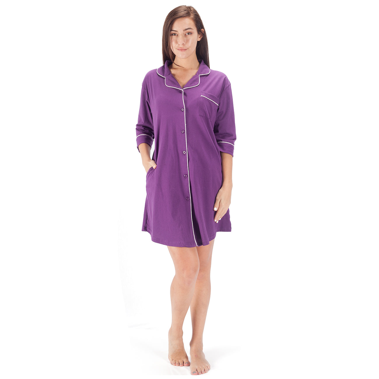 WEWINK CUKOO Womens Sleepwear Boyfriend Sleep Dress Shirt 3/4 Long Sleeve Cotton Nightshirt