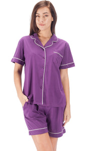 Women's Cotton Pajama Set Short Sleeve Sleepwear Comfort Purple PJ Set