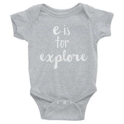 """E is for Explore"" Baby Onesie (More Options)"