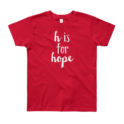 """H is for Hope"" Short Sleeve Big Kid's Tee (More Options)"