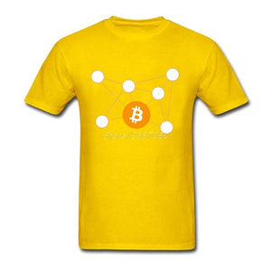 Bitcoin Chemical Molecule T Shirt Cotton Custom Short Sleeve  Men's Shirt Top Party 3XL Funny T Shirts - Cryptocurrency Swag