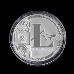 New 1 OZ Silver Plated LTC Litecoin Vires in Numeris Medallion Coin - Cryptocurrency Swag