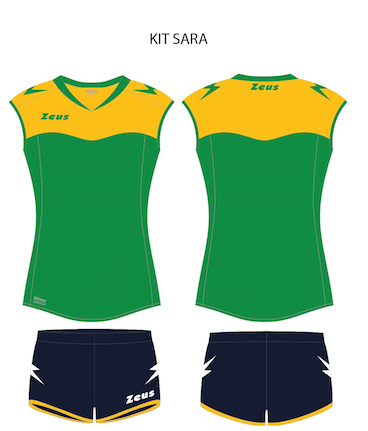 Women Playing Kit Sara - Green, with Gold Trim