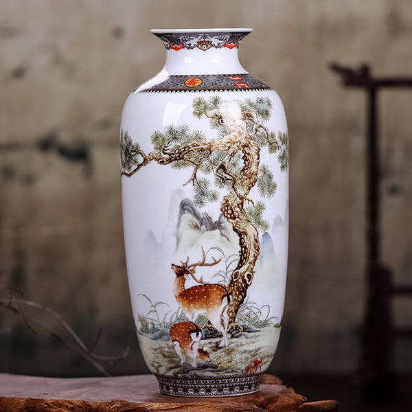 Vintage Chinese Style Ceramic Vase with Animals & Legends