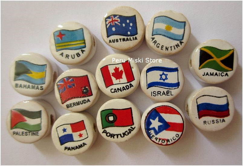 Ceramic Clay Beads, round 14mm, with country's flags