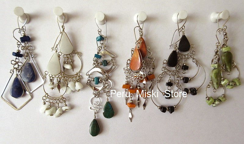 10 pairs Stone Earrings, Handcrafted in Alpaca Silver