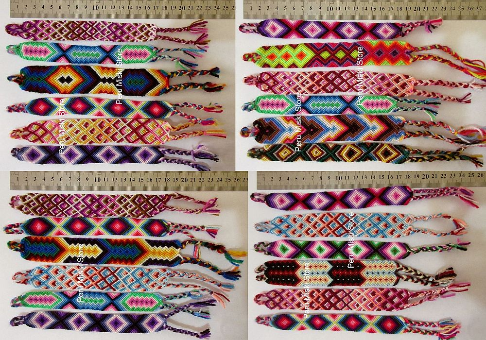 40 Wide Friendship Bracelets from Cusco, Cuzco, Wool