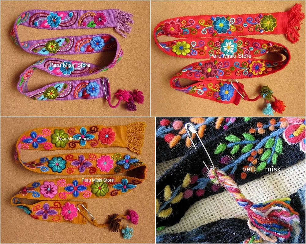 12 Embroidered Belts from Ayacucho, Peru