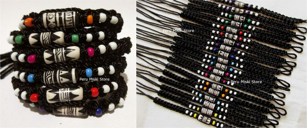 Friendship bracelets, black and white, large ceramic bead