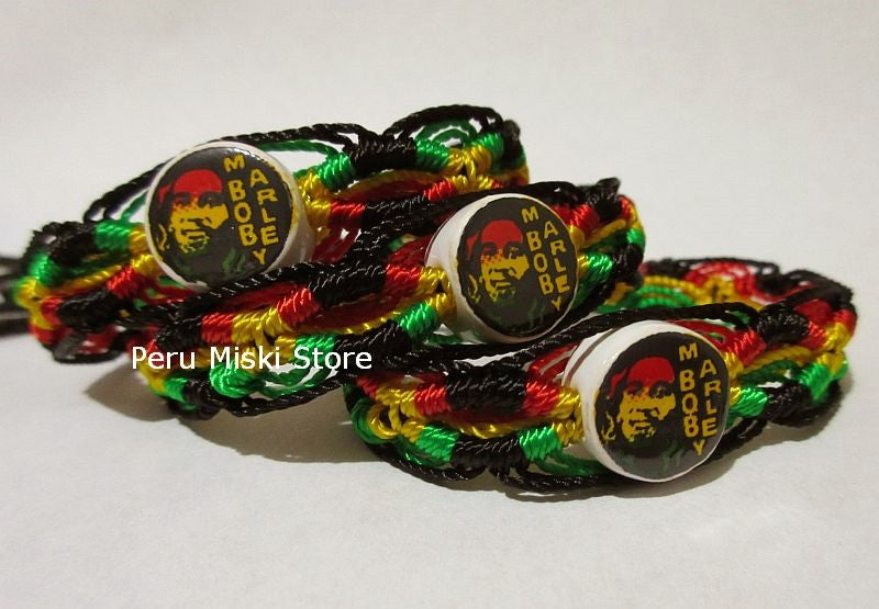 50 Bob Marley Friendship Bracelets with ceramic beads, Rasta
