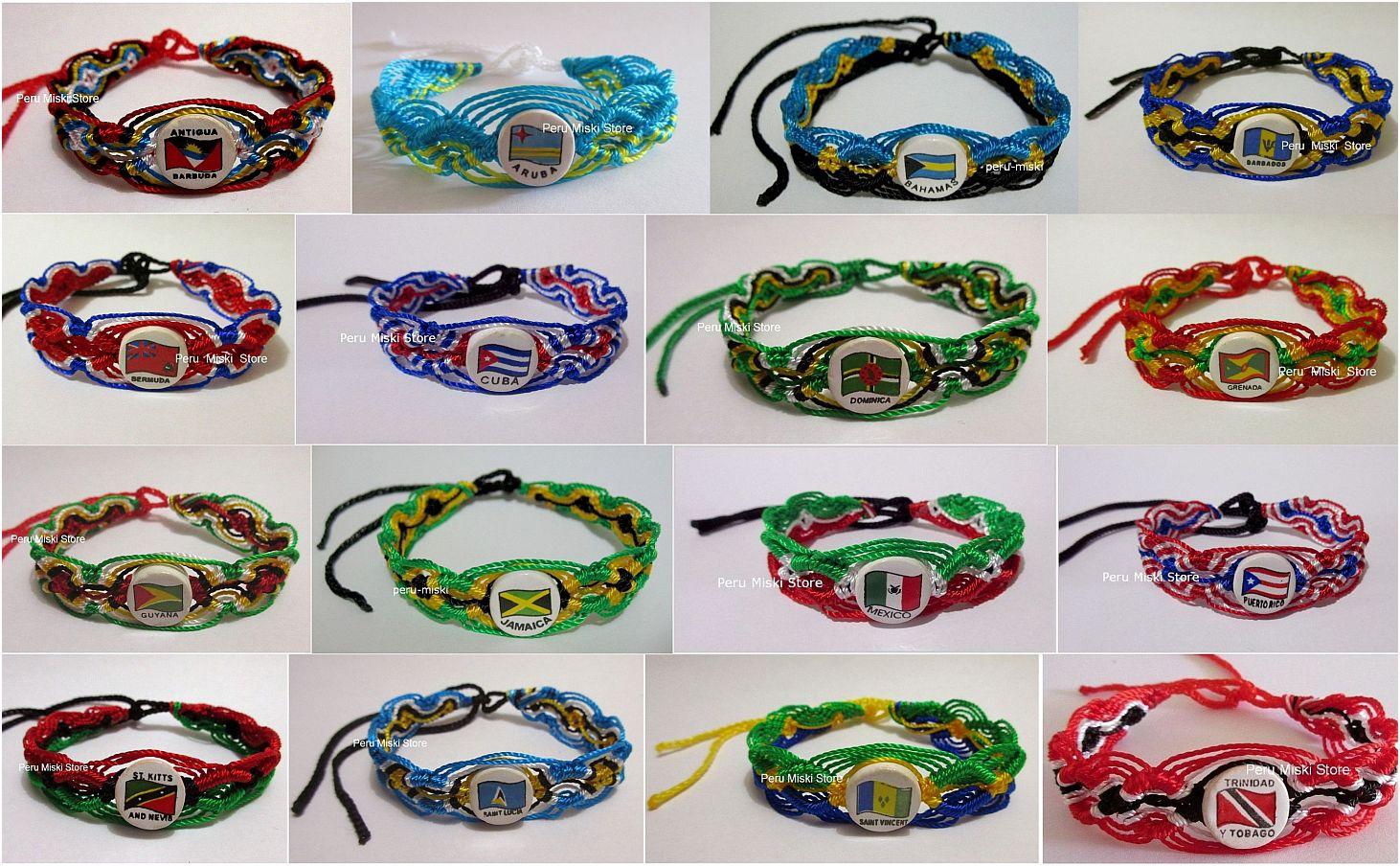 Friendship Bracelets with ceramic beads, assorted flags