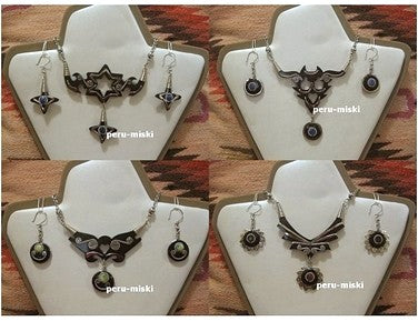 50 Sets, Bull Horn and semiprecious stones, necklaces and matching earrings