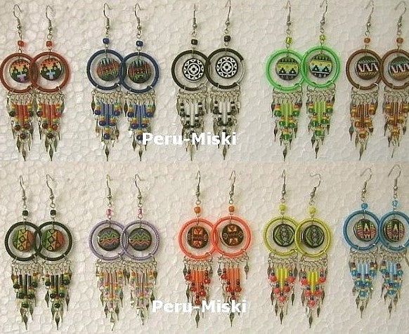 20 pairs Ceramic Earrings with Geometric Designs, round