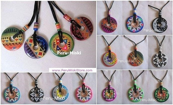 20 Ceramic Necklaces - Donuts - Handpainted
