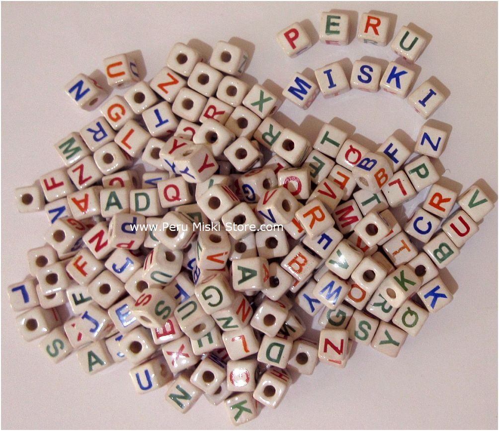Ceramic Clay Beads, 9mm cubes, letters A to Z
