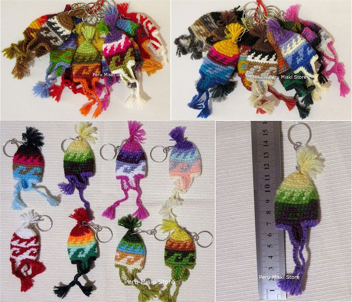 Keyrings, keychains, charms, Chullos handmade in Peru