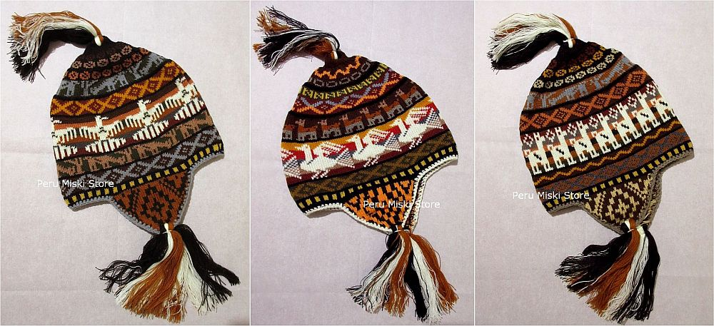 5 Chullos, Llama, birds design from Cusco, Peru