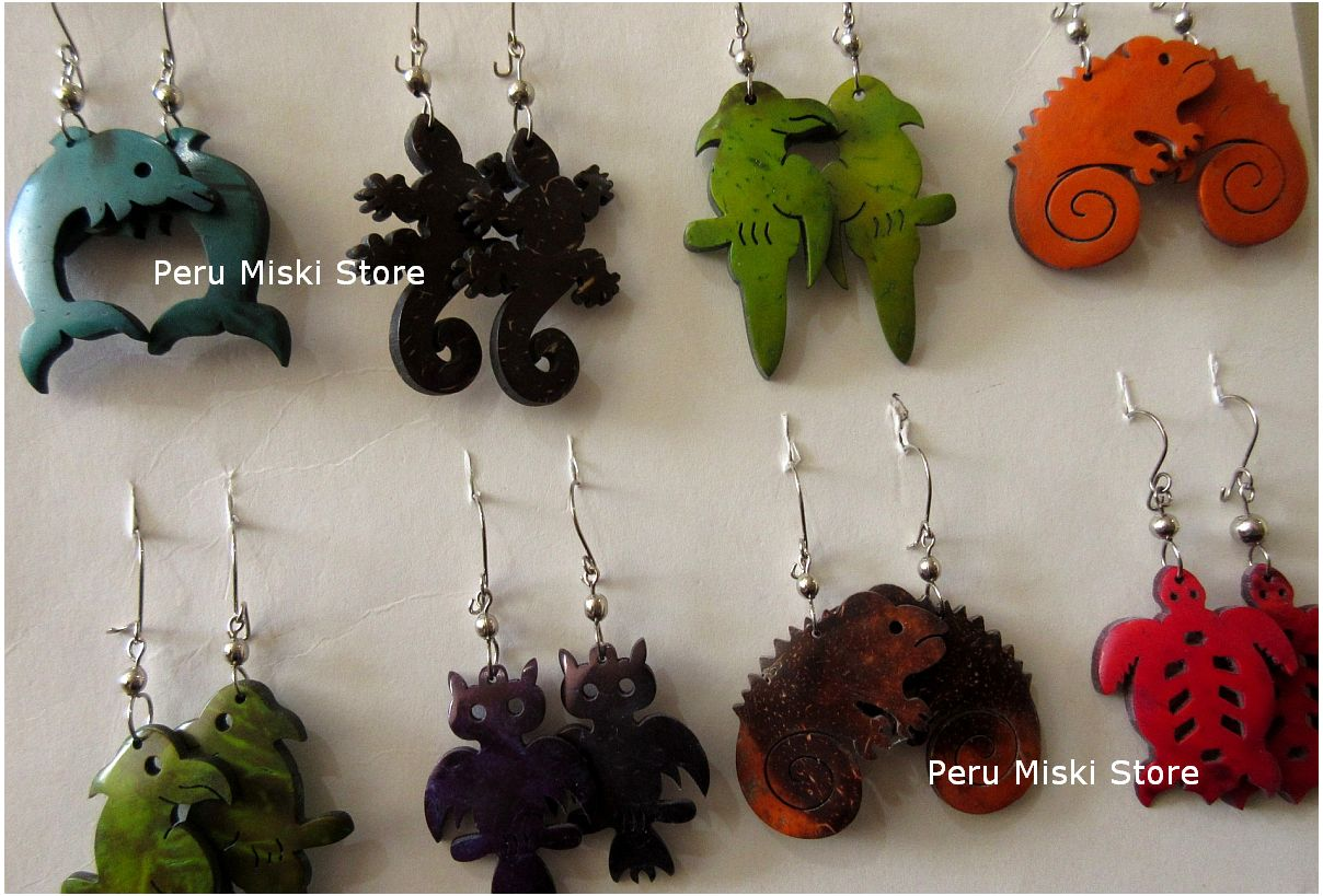 Coconut earrings, animal shapes