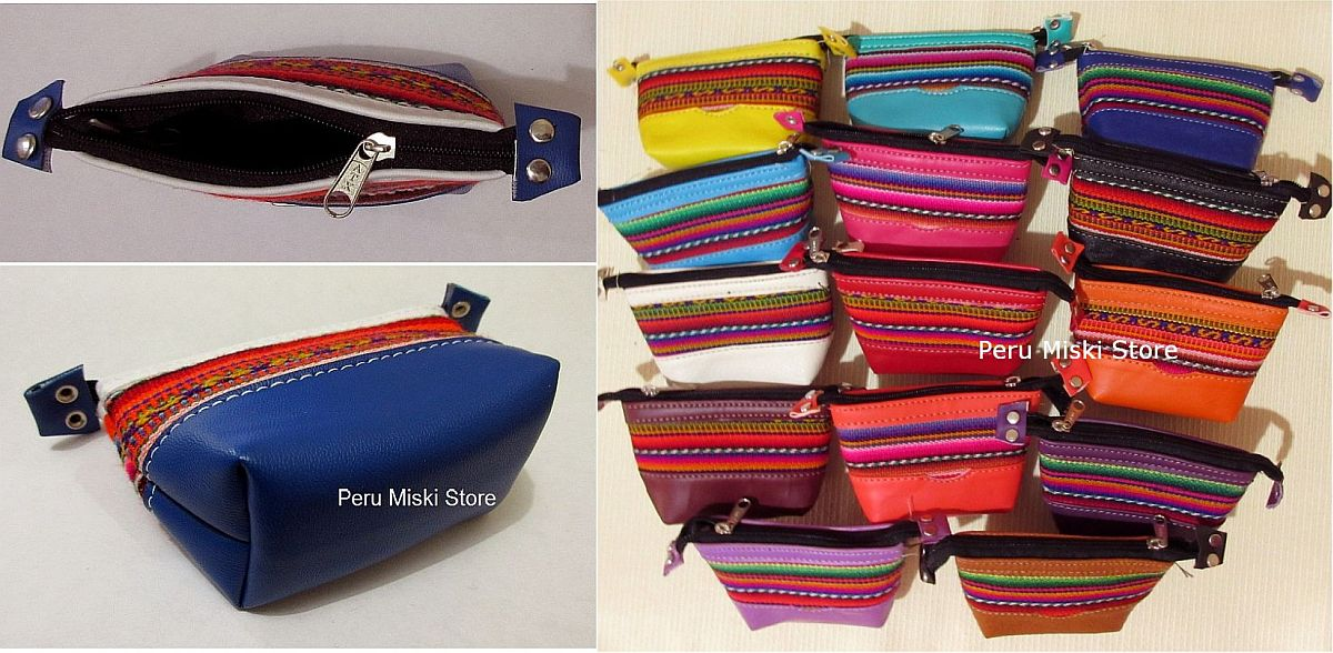 Coin Purses, Badana and manto - Peru, Zipper
