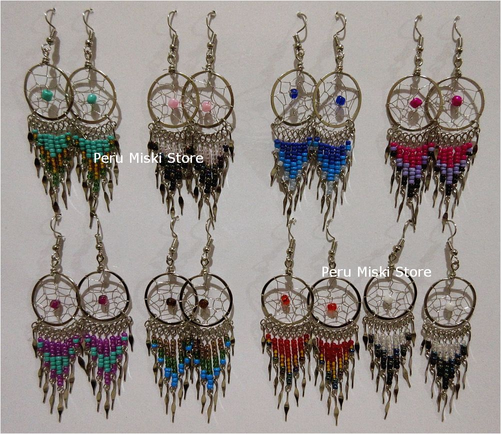 Round dreamcatcher earrings with dangles