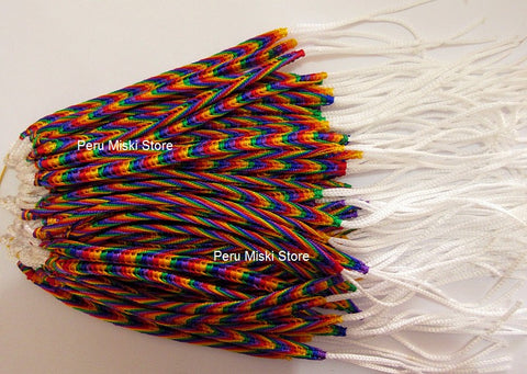 80 Friendship Bracelets Rainbow Fishbone knot