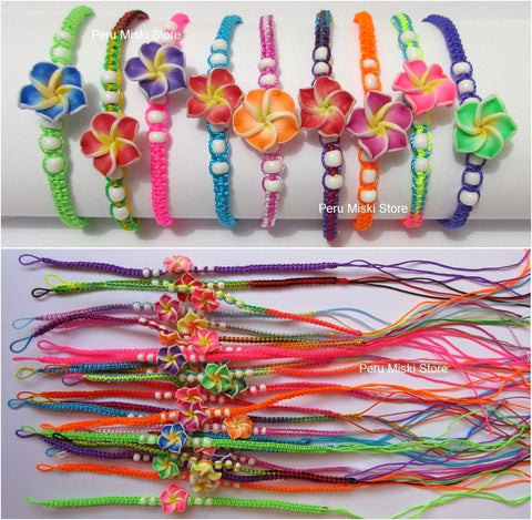 30 Friendship Bracelets with Clay Plumeria Flowers