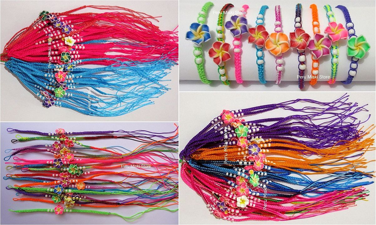 Friendship Bracelets with Clay Plumeria Flowers