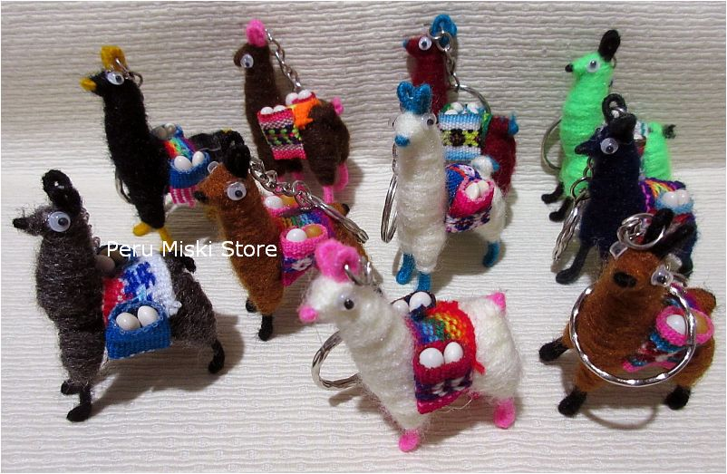 20 Keyrings, Llamas, handmade, from Peru