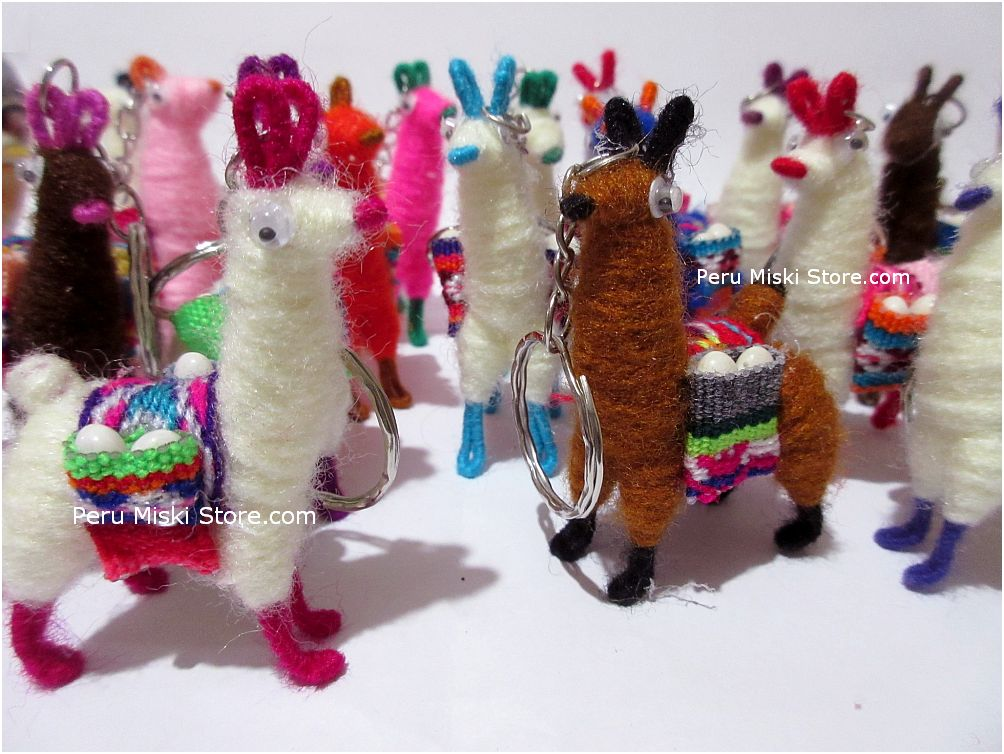 Keyrings, keychains, charms, Llamas, handmade, from Peru