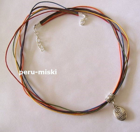 15 Rainbow Strings Necklace with Be Yourself Charm