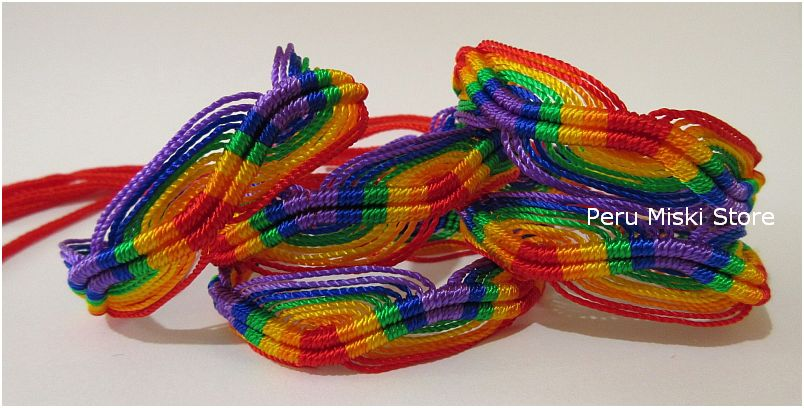 80 Friendship Bracelets Rainbow ZigZag - Red