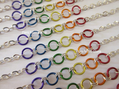 30 Rainbow Bracelets with Jump Rings