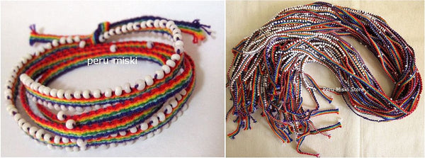 30 Rainbow Wrap Friendship Bracelets, Watana, from Cusco, Cuzco