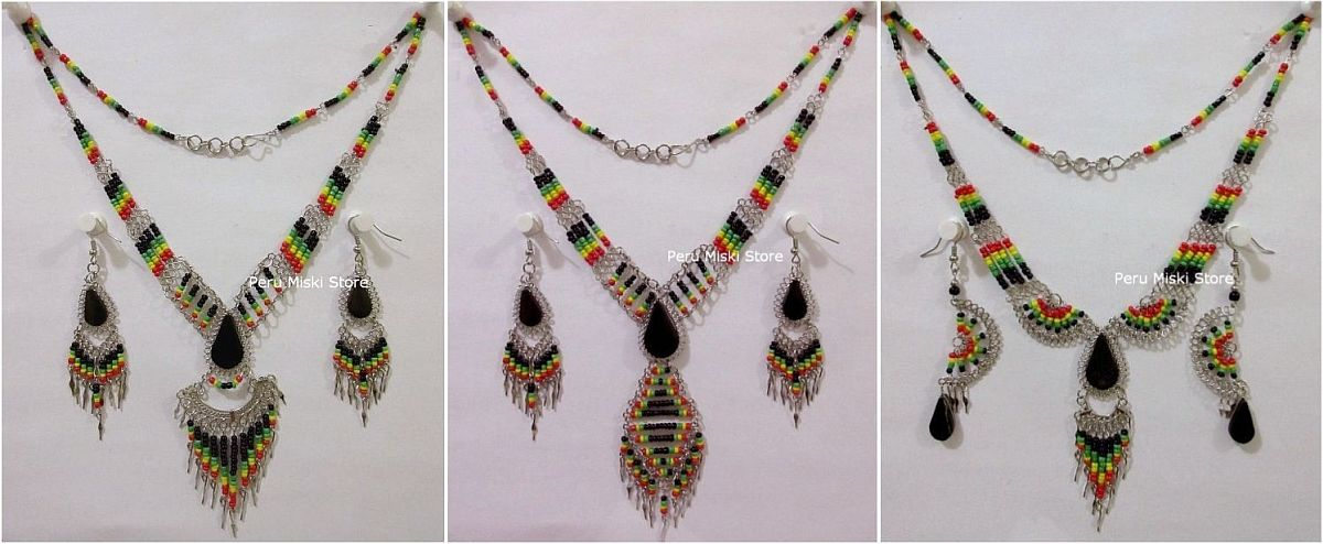 10 Rasta Sets with semiprecious stones and alpaca silver, necklaces and matching earrings