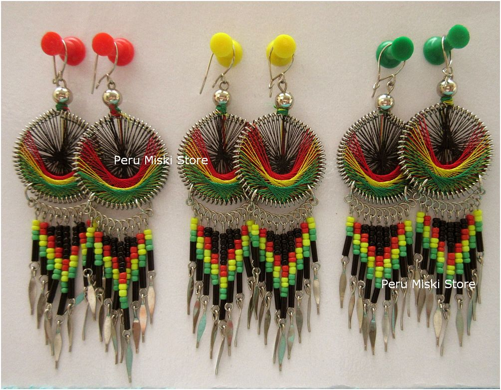Rasta Earrings, with Dangles