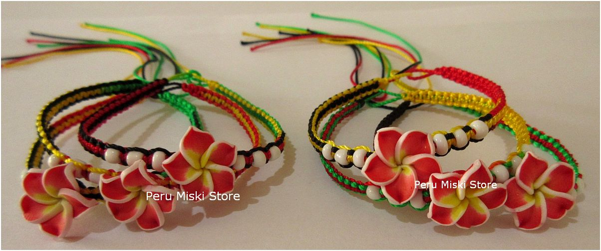 Rasta Friendship Bracelets with Clay Plumeria Flower