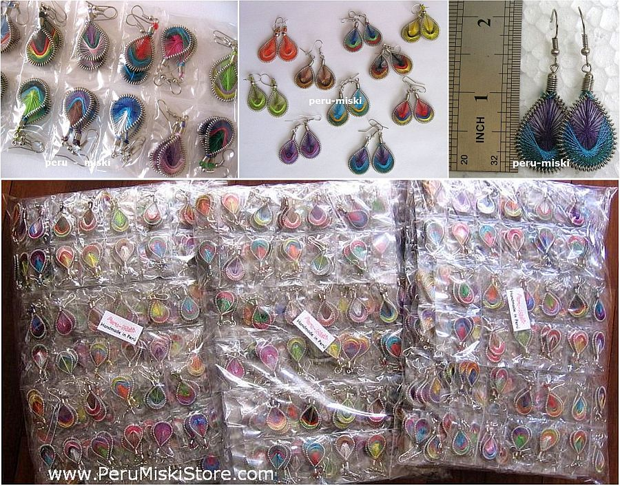 50 pairs Thread Earrings, Drop shape, small 1 inch