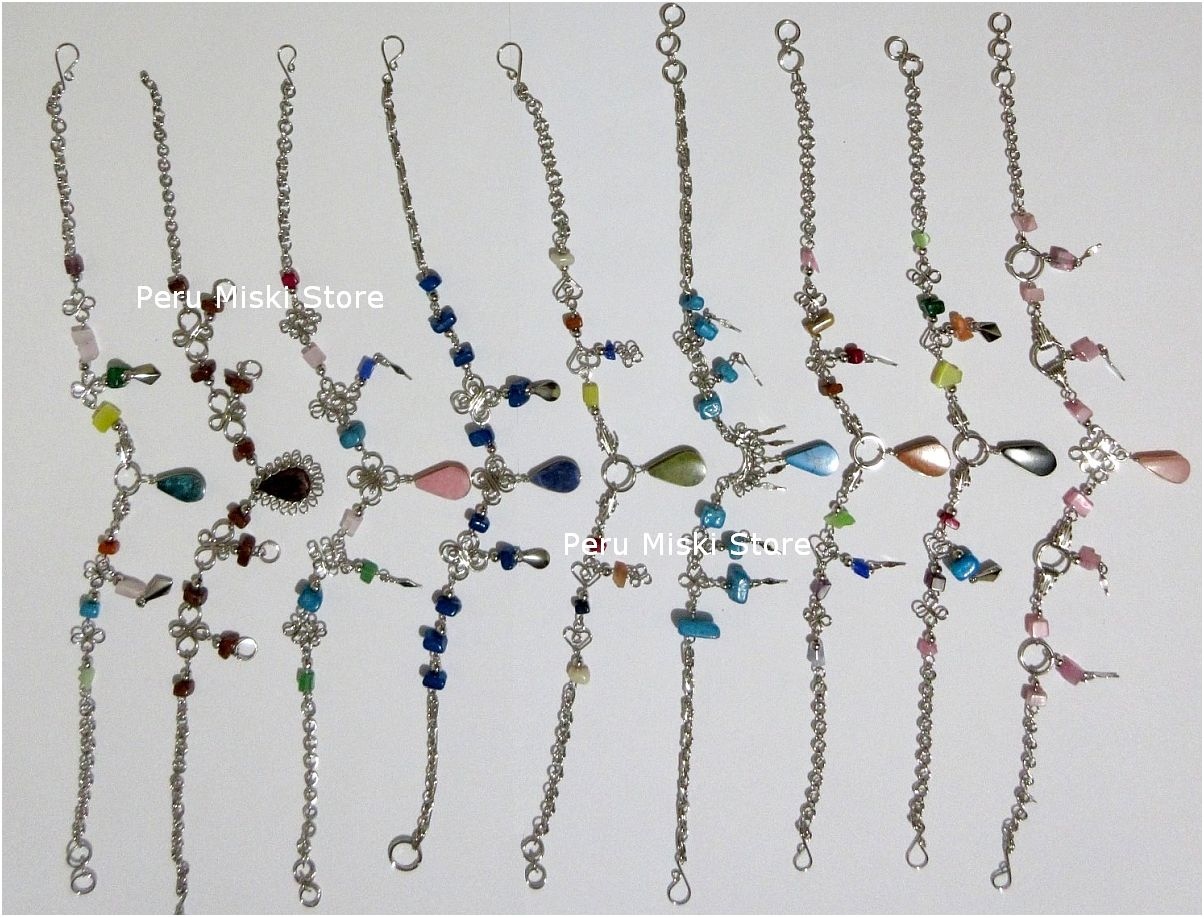 Anklets, Handcrafted in Alpaca Silver and Stone beads