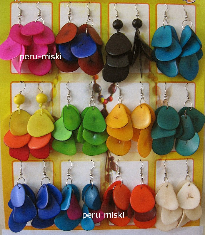 20 pairs Tagua Earrings - Round beads