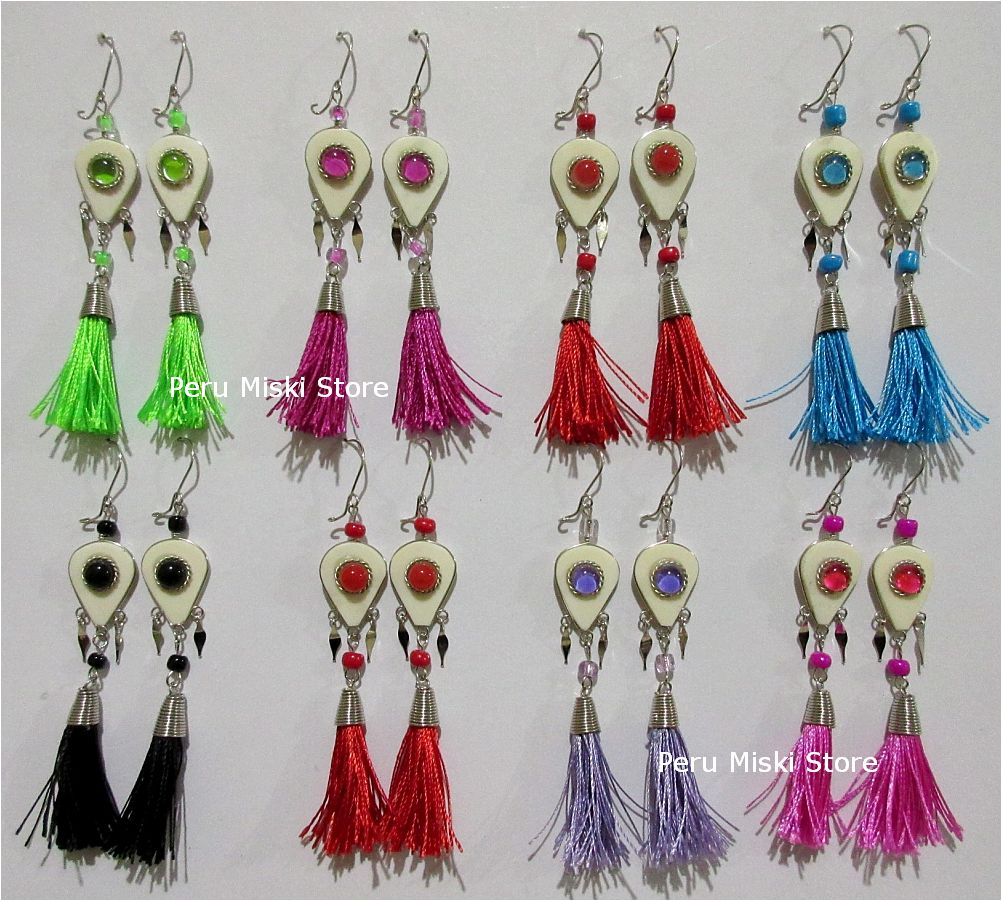 Earrings with bone and colorful tassels