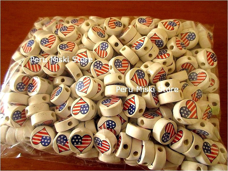 Ceramic beads with heart and USA flag
