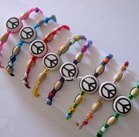 Friendship Bracelets with Peace Symbol Ceramic Beads