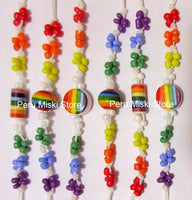 300 Rainbow Bracelets or Anklets with ceramic beads