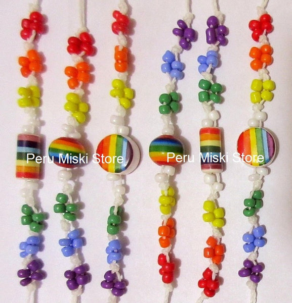 40 Rainbow Bracelets or Anklets with ceramic beads